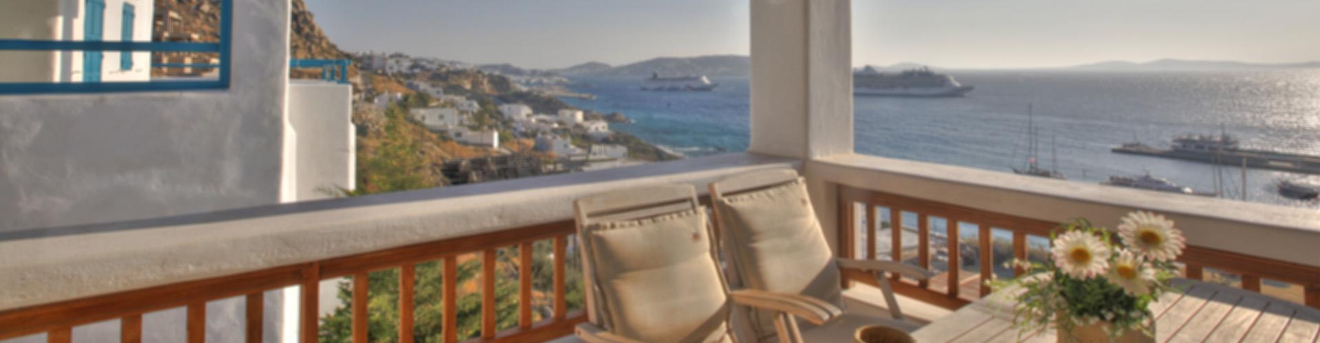 Apartment balcony seaview tourlos, Mykonos