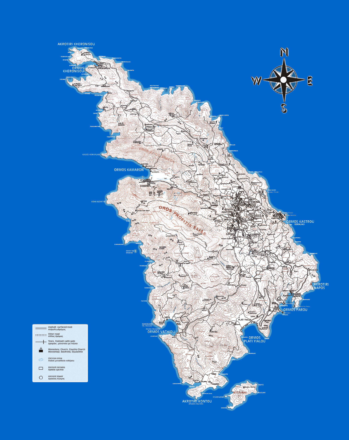 Sifnos' map of Trails