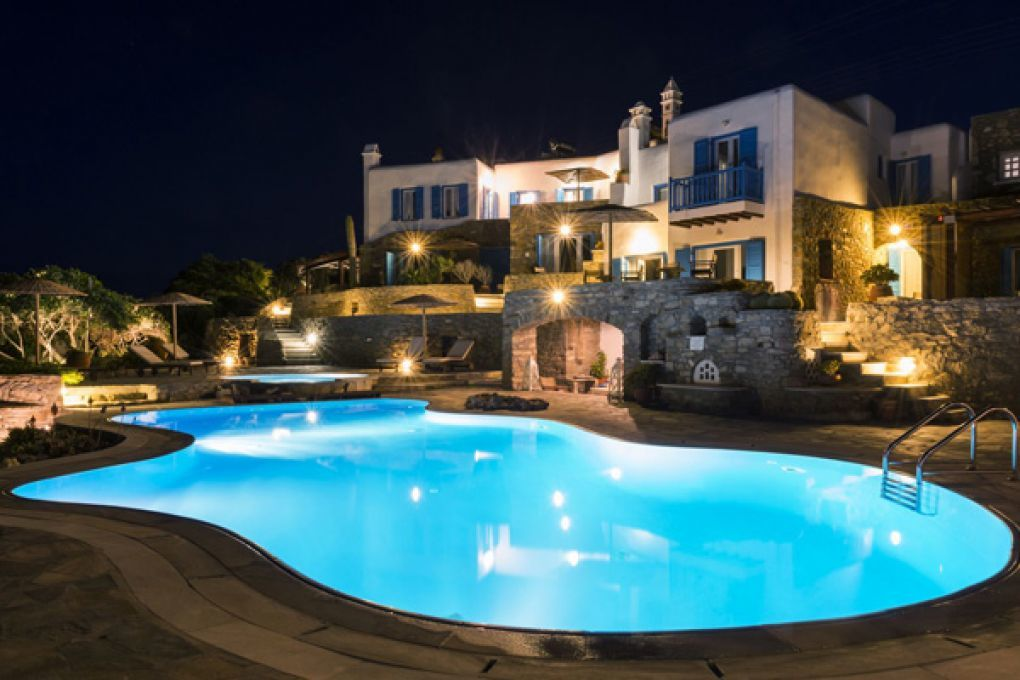 Mykonos thea night view from front